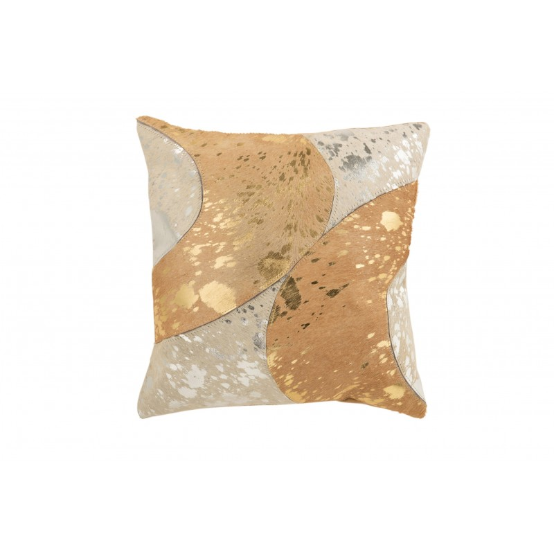 Coussin carré cuir beige/or 45x45cm