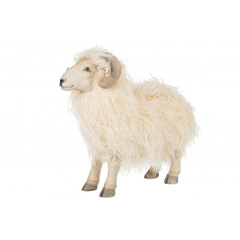 Chèvre en résine blanche H33cm