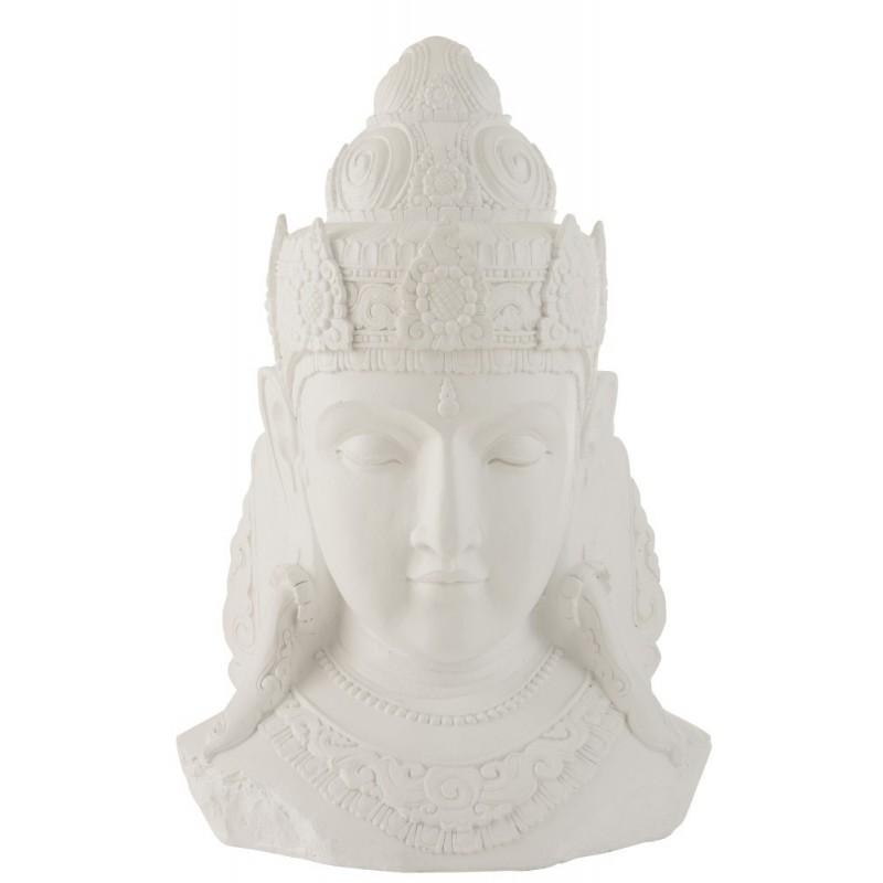 Tête de Bouddha magnésie blanc H83,5cm