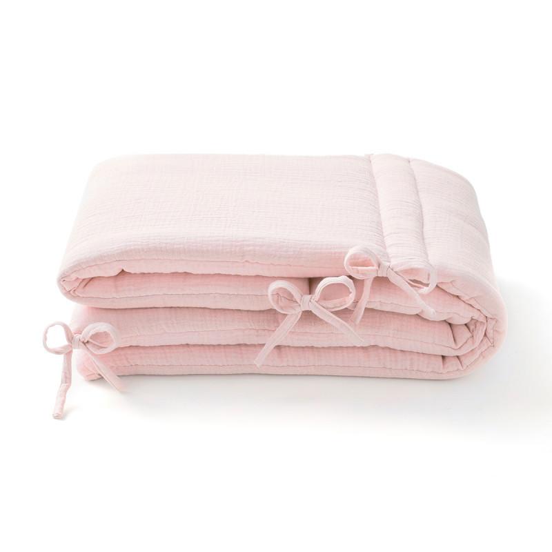 Tour de lit en gaze de coton rose pale