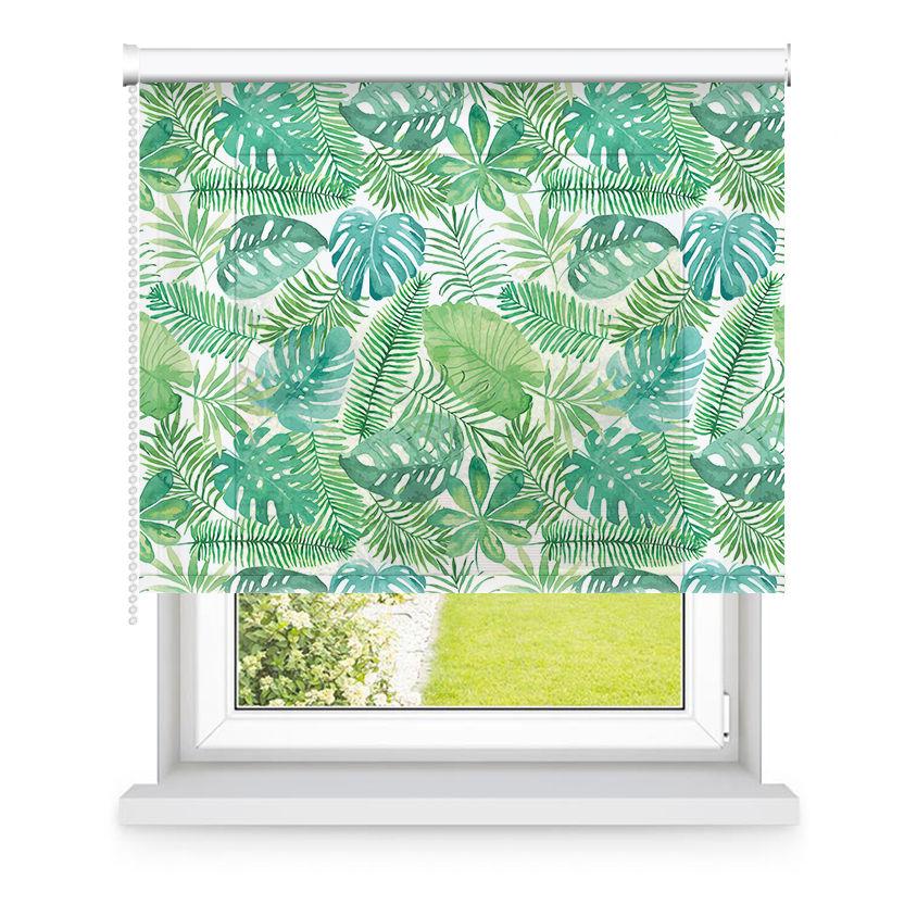 Store enrouleur tamisant vert motifs feuilles L105x H250cm