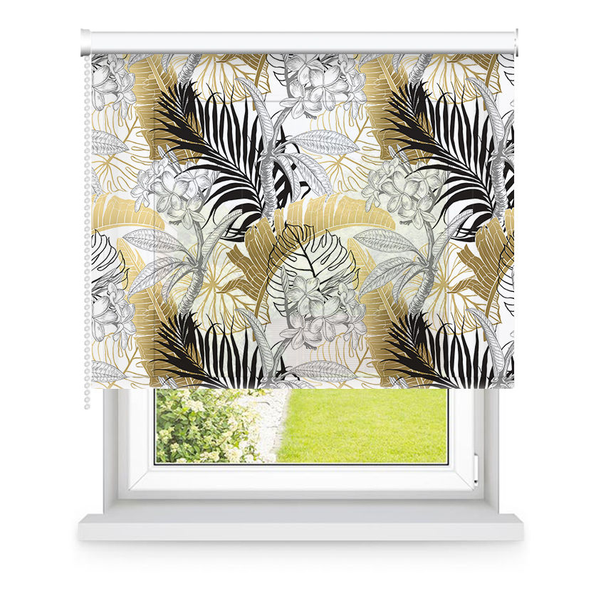Store enrouleur tamisant blanc, noir, or motifs feuilles L90x H190cm