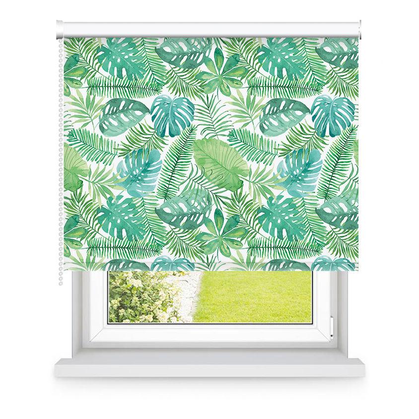 Store enrouleur occultant vert motifs feuilles L105x H250cm