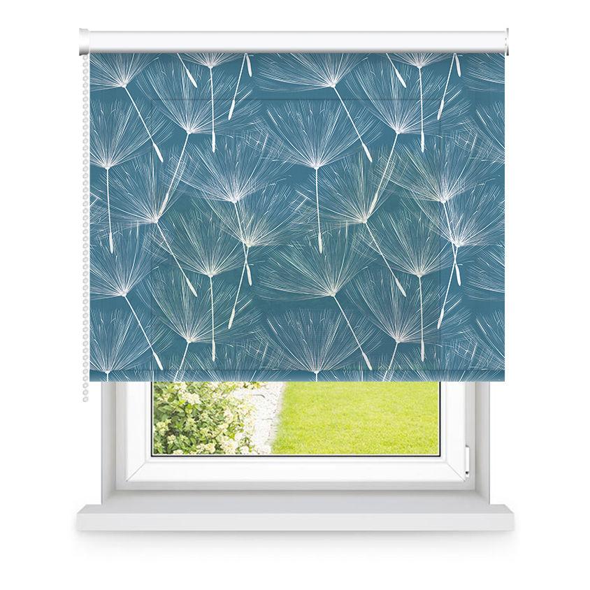 Store enrouleur tamisant bleu et blanc à motifs L105x H250cm