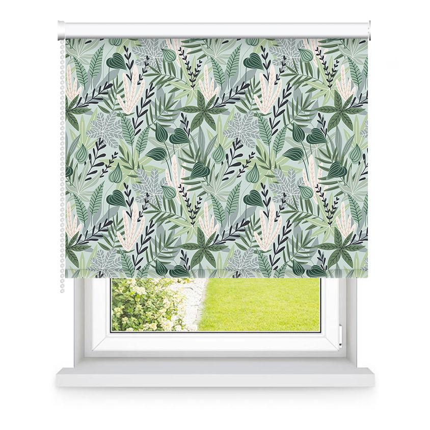 Store enrouleur occultant vert à motifs L105x H250cm