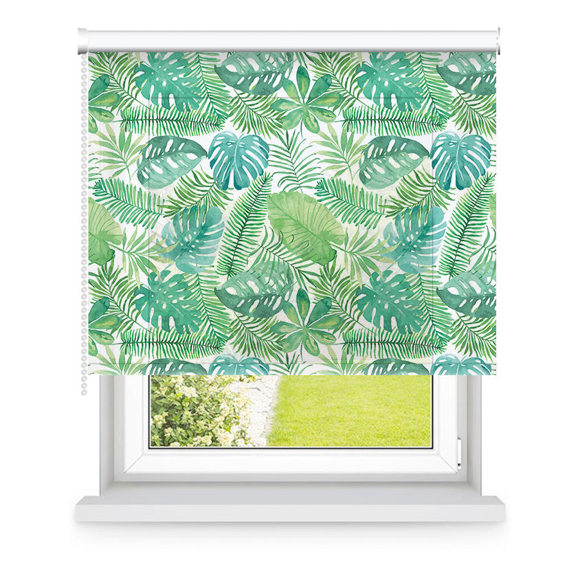 Store enrouleur tamisant vert motifs feuilles L90x H190cm