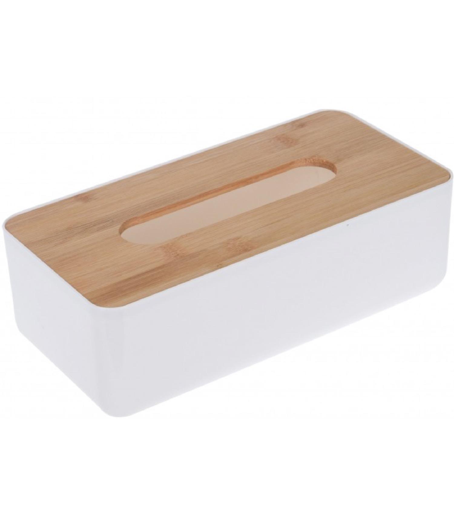 Boîte à mouchoirs rectangulaire plastique blanc et bambou
