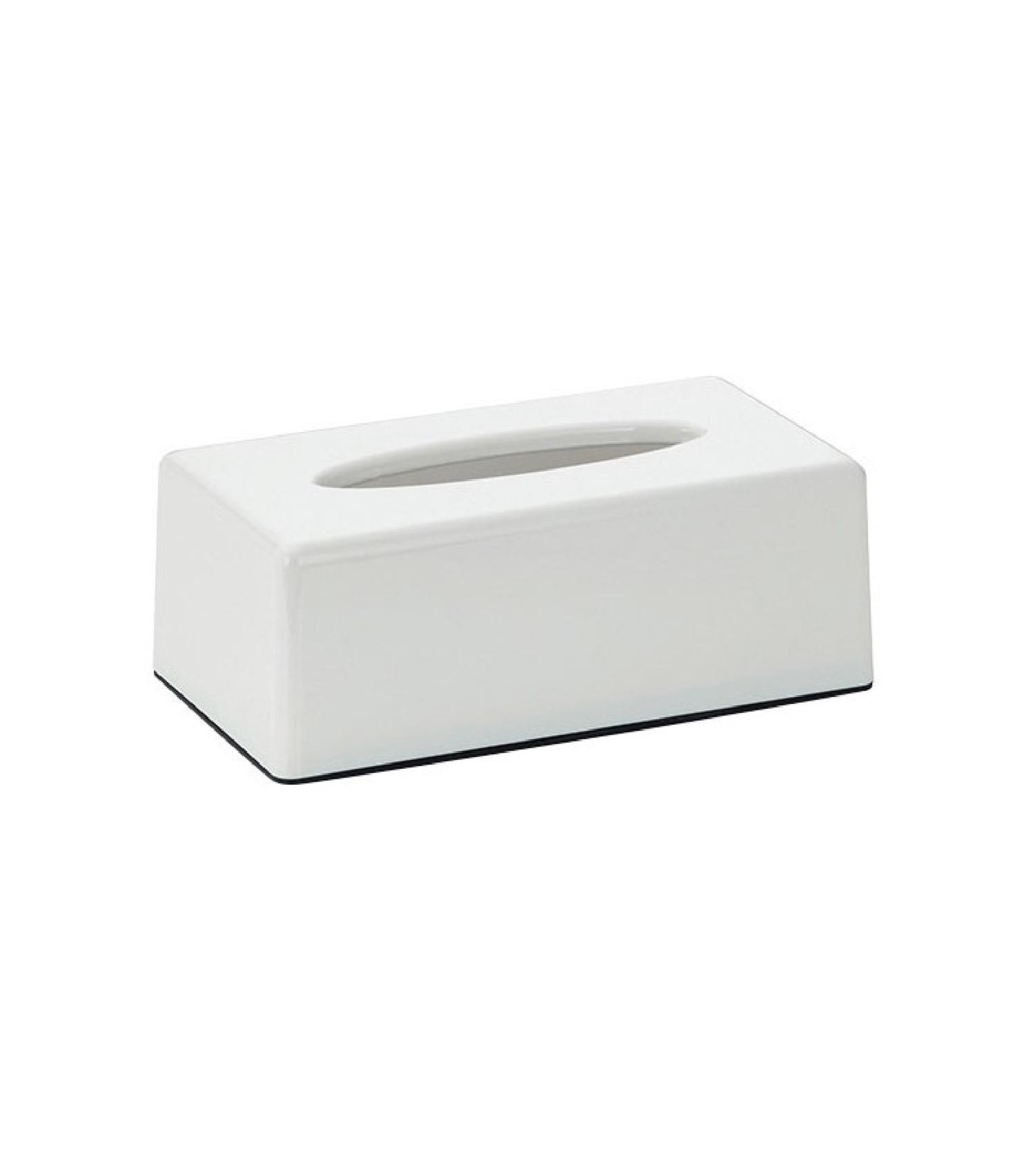 Boîte à mouchoirs rectangulaire plastique blanc