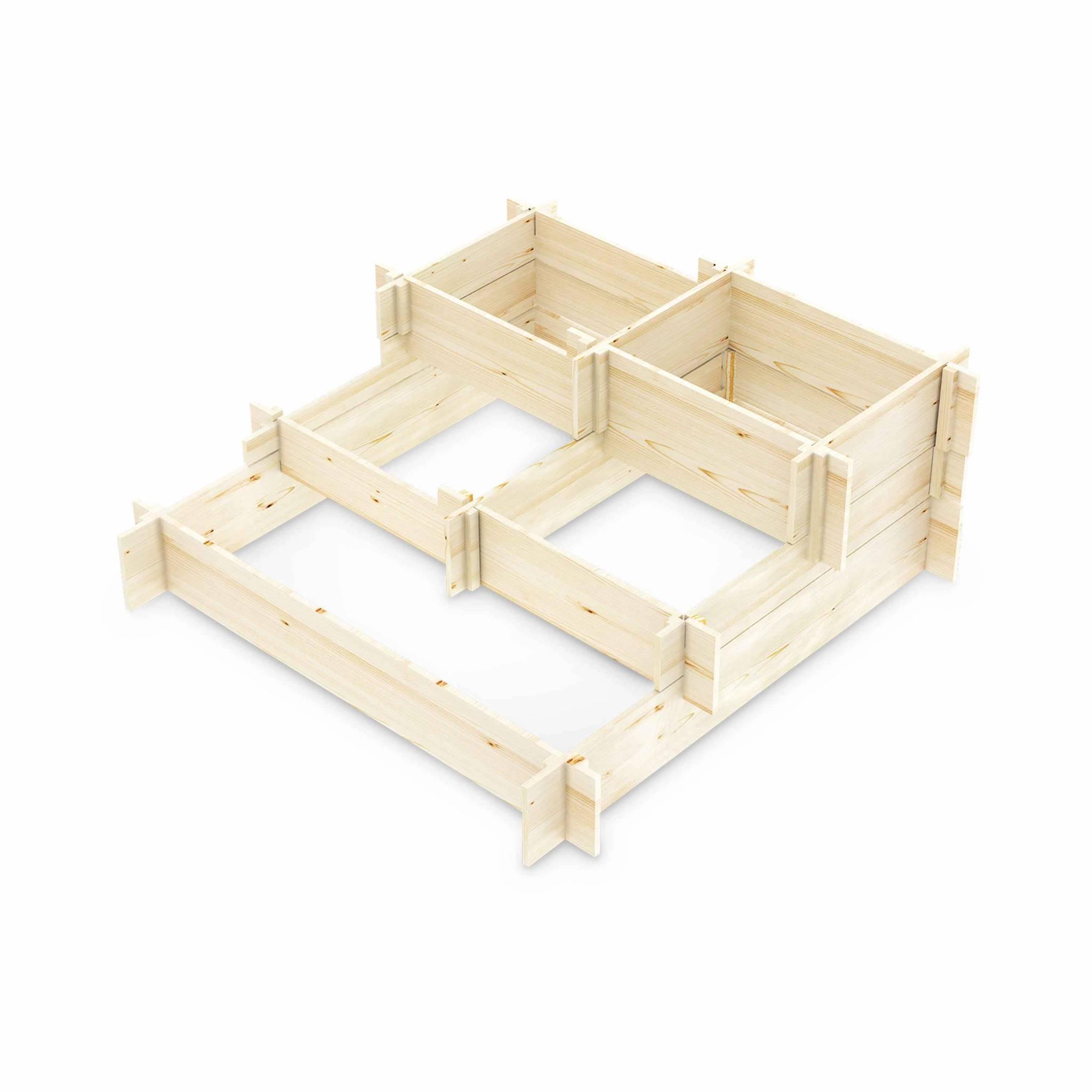 carré potager 5 étages 5 compartiments - lavande - bois pin canadien