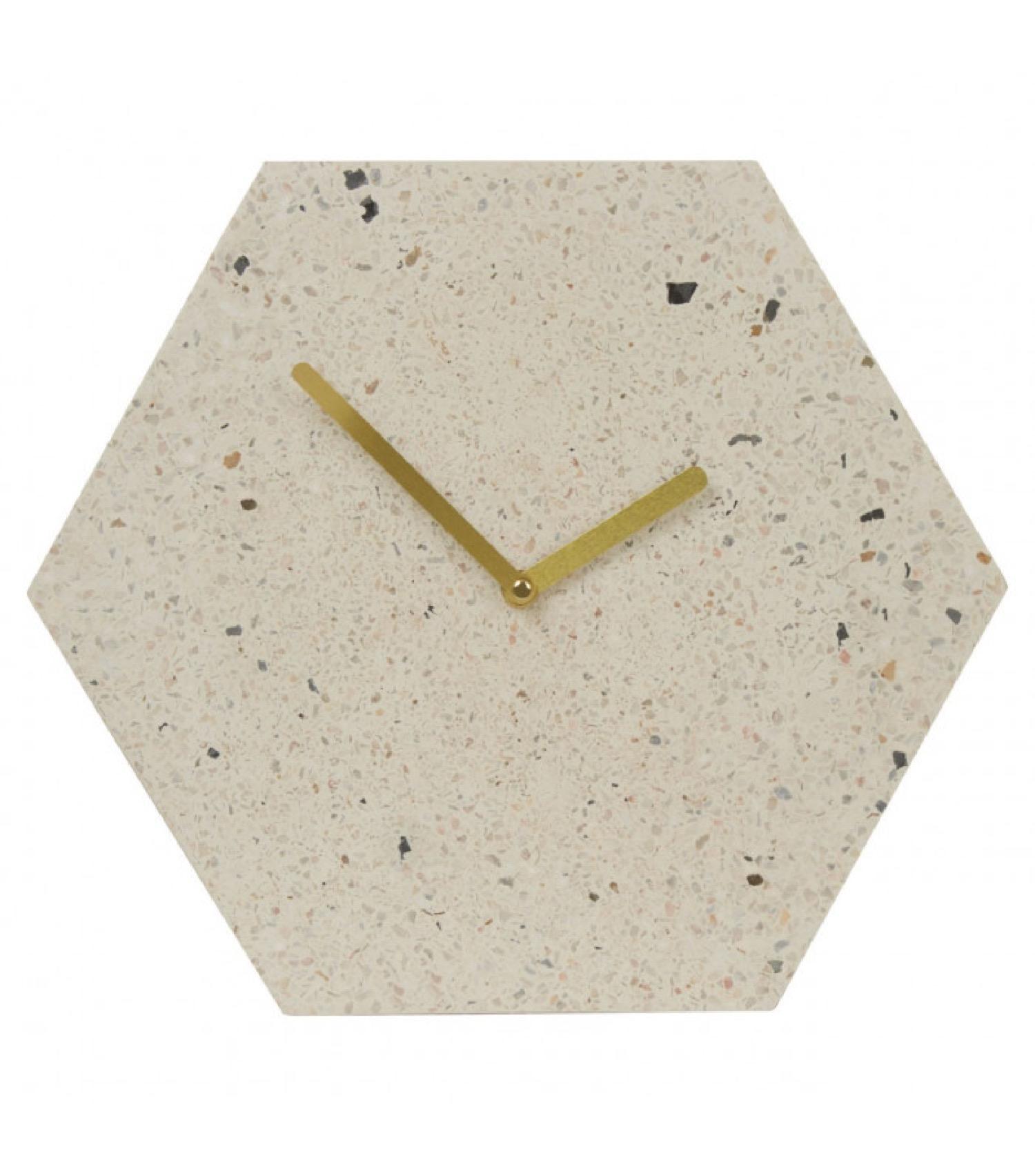 Horloge murale octogonale terrazzo 30x26cm