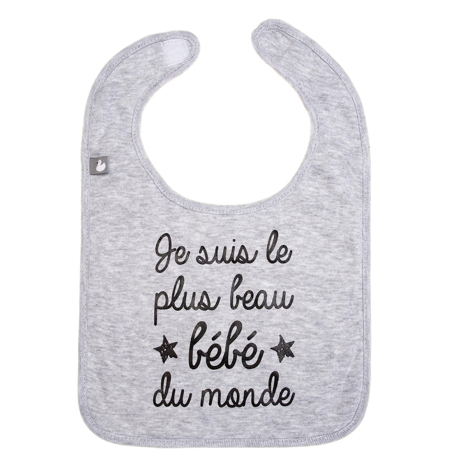 Bavoir bébé personnalisé  gris