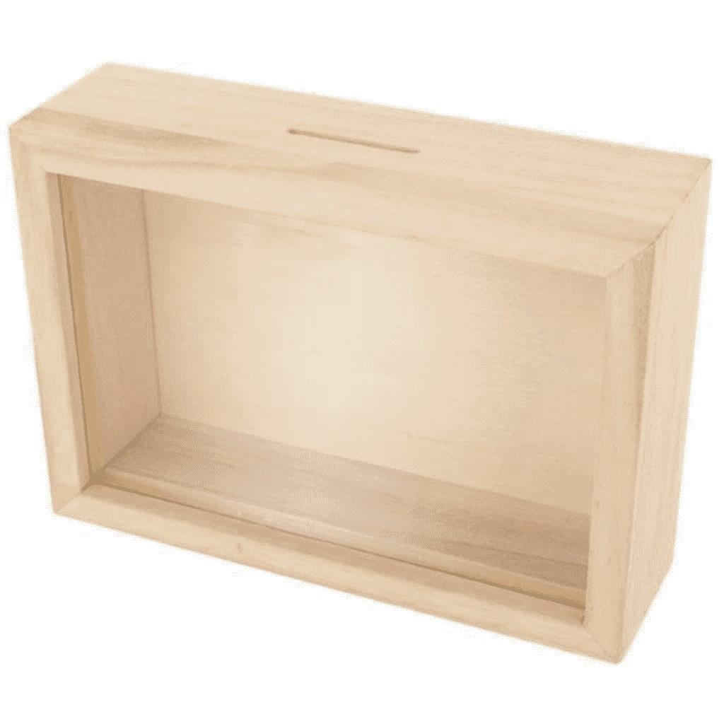 Tirelire cadre en bois à customiser 12x17cm