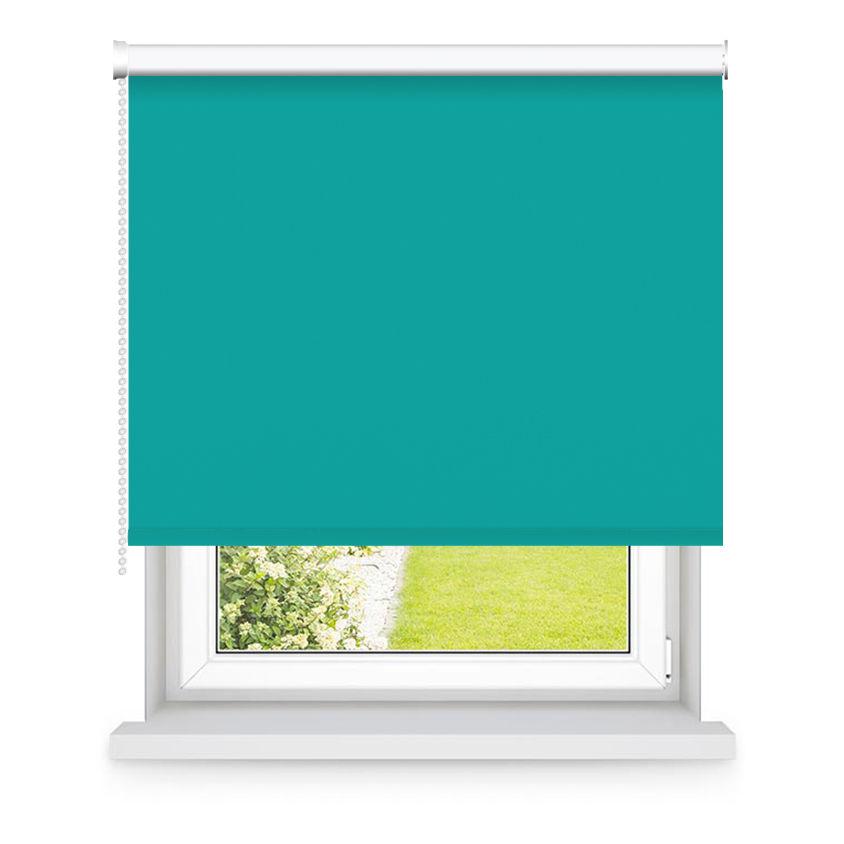 Store enrouleur occultant turquoise L105x H250cm