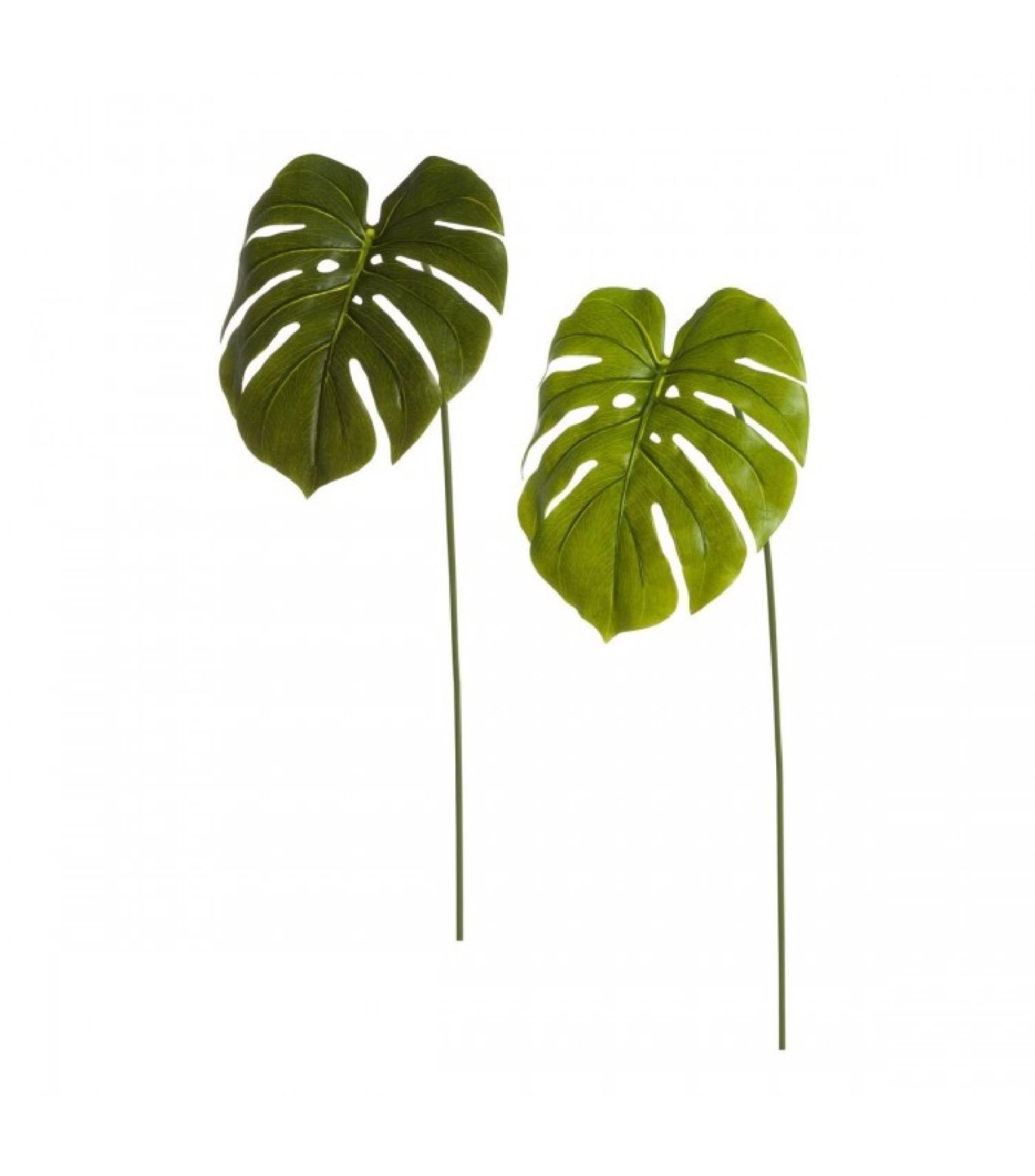 Set de 2 feuilles sur tiges artificielles monstera H73cm
