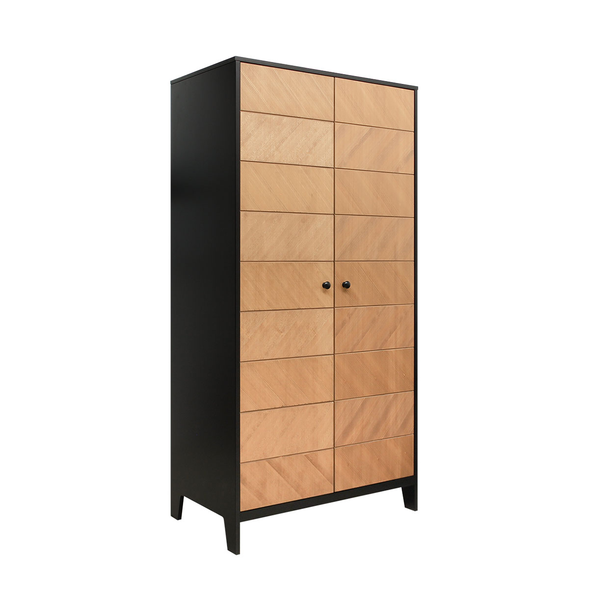 Armoire 2 portes noir bois naturel