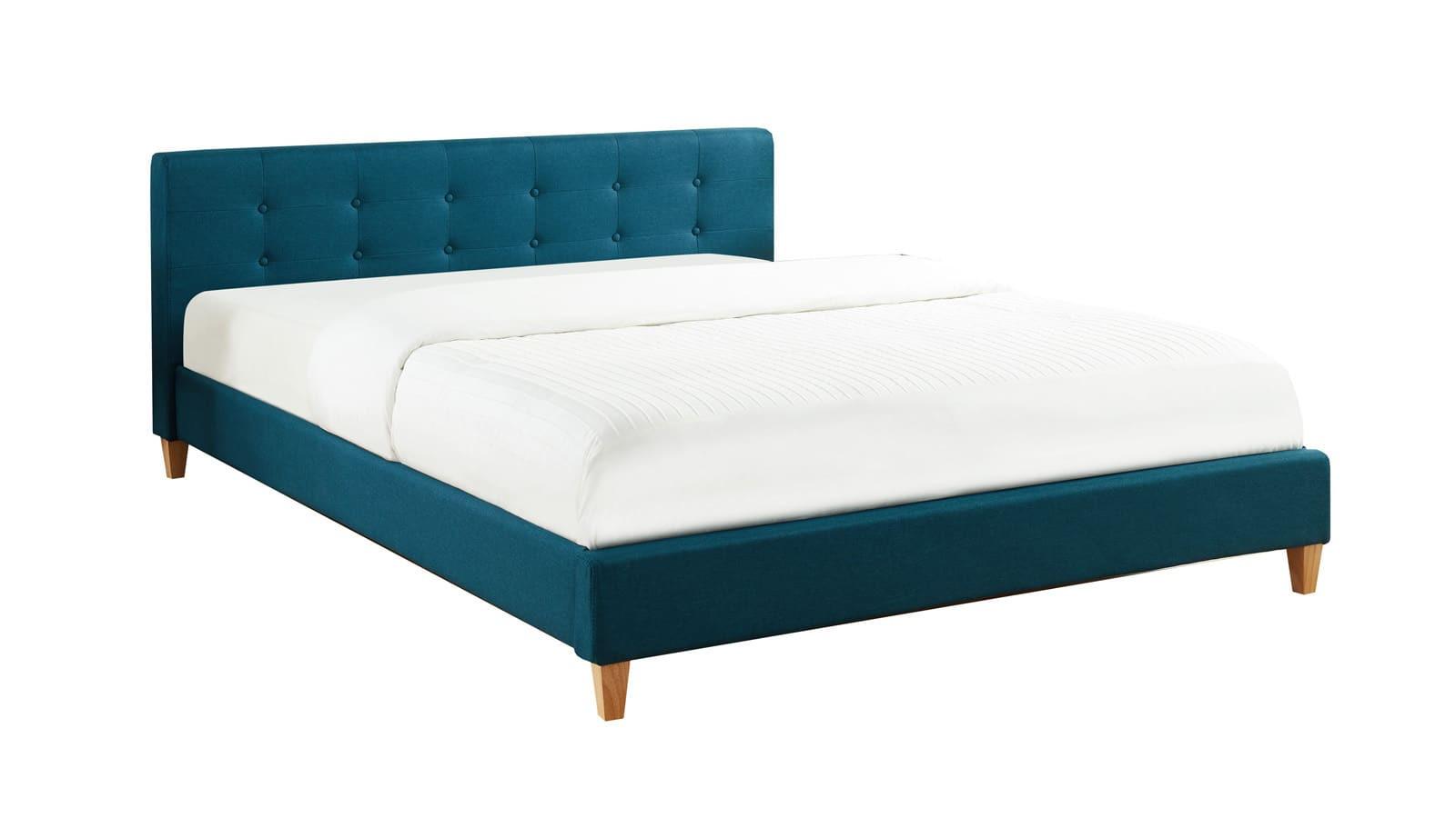 Lit bleu canard 160x200 avec sommier à lattes et tête de lit