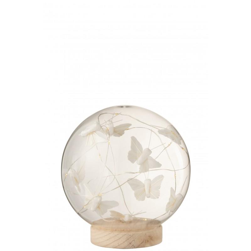 Cloche boule led papillons verre/bois blanc/naturel H16cm