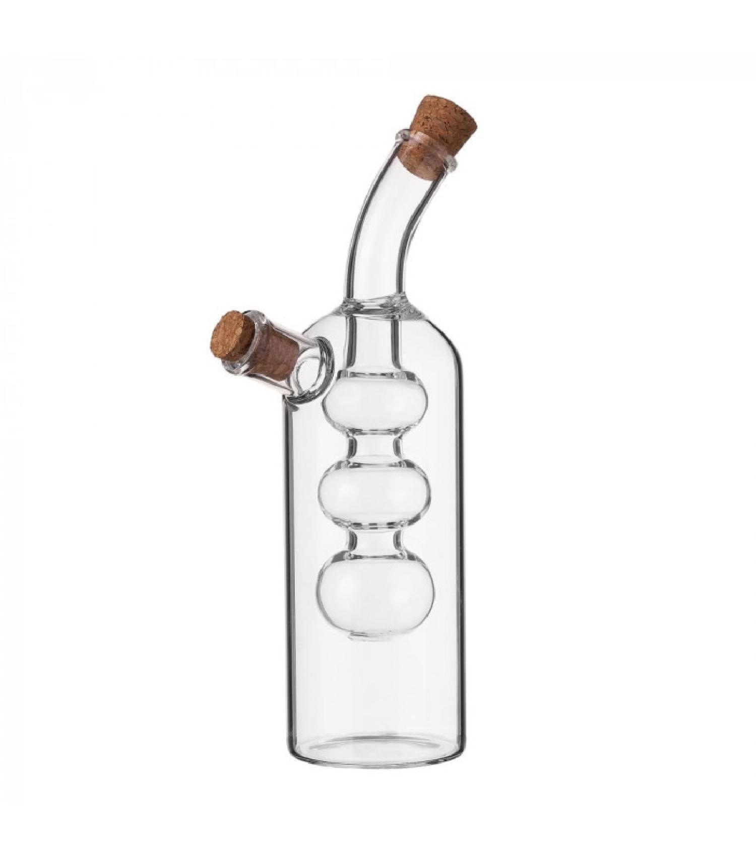 Huilier vinaigrier 2-en-1 en verre bouchons liège H19,5cm