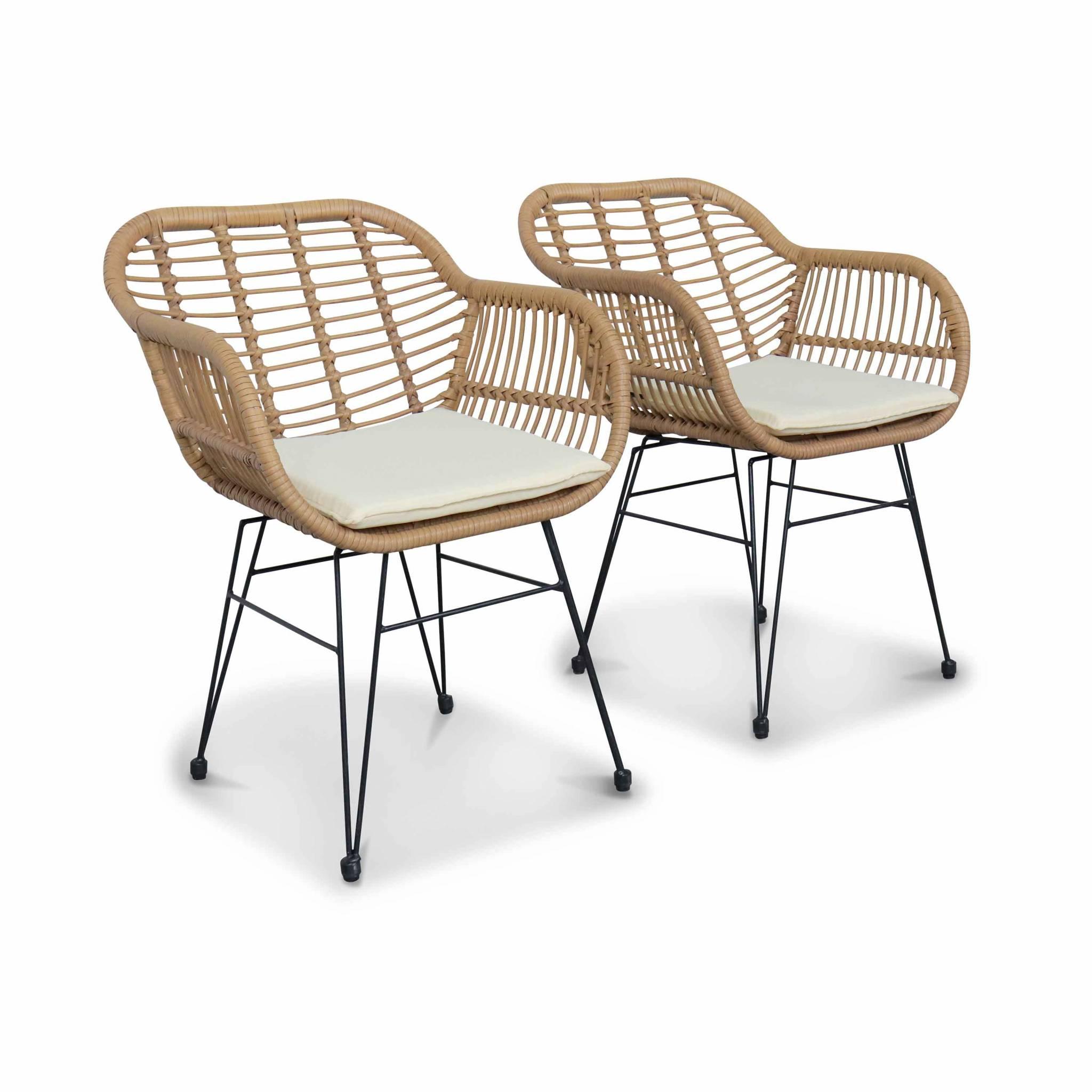 2 fauteuils effet bambou en résine beige et métal noir