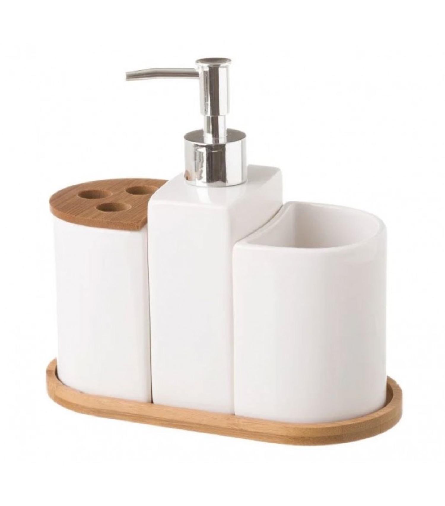 Set de salle de bain céramique et bambou