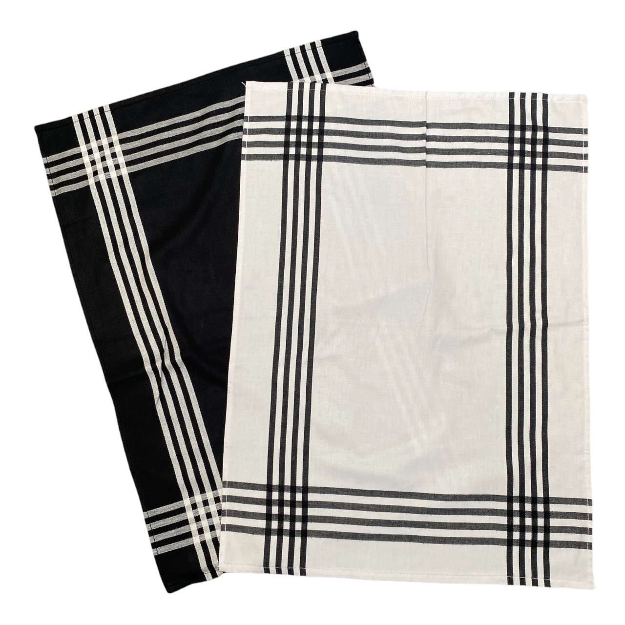 Duo torchons assortis bicolores  rayés noirs  50 x 70