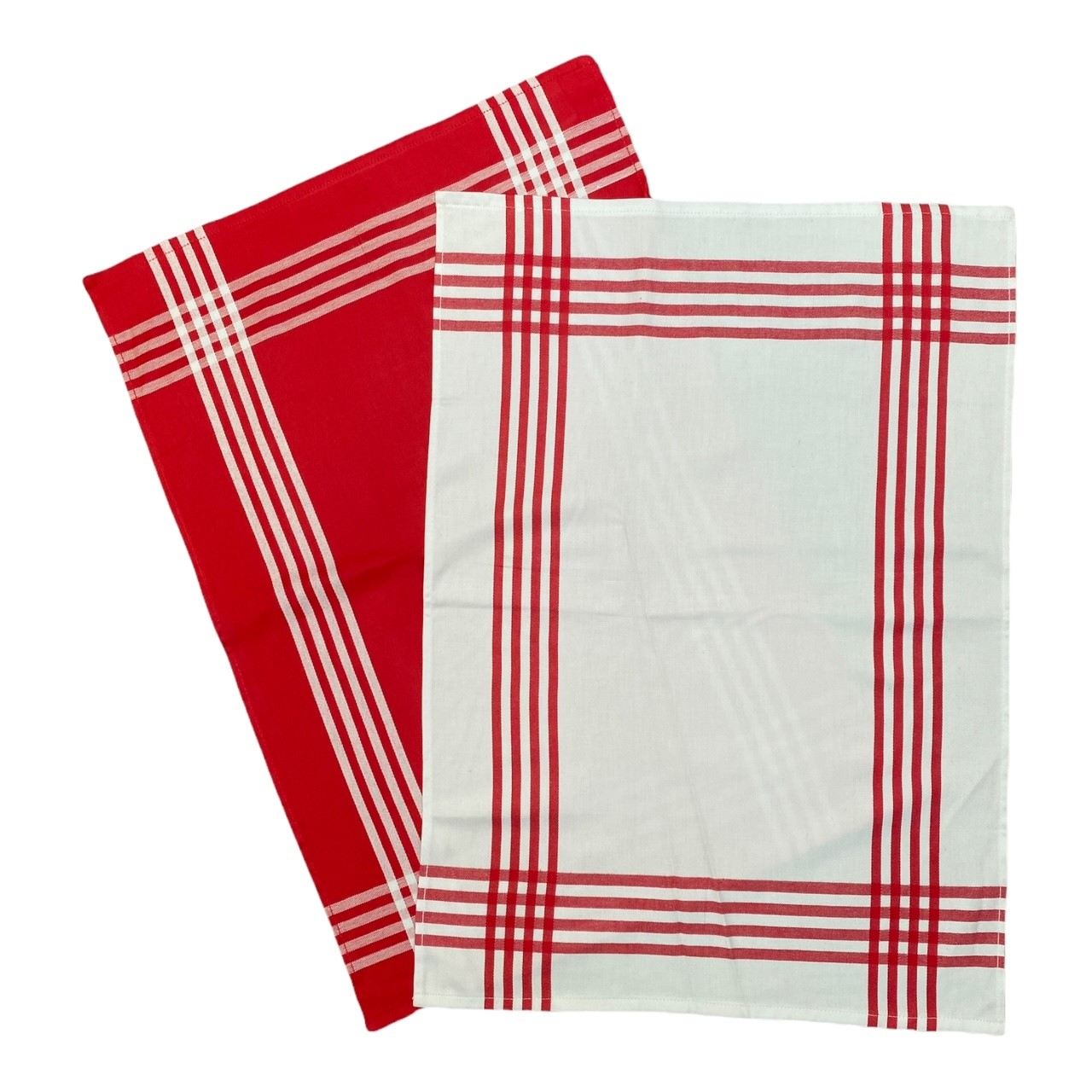 Duo torchons assortis bicolores rayés rouges 50 x 70