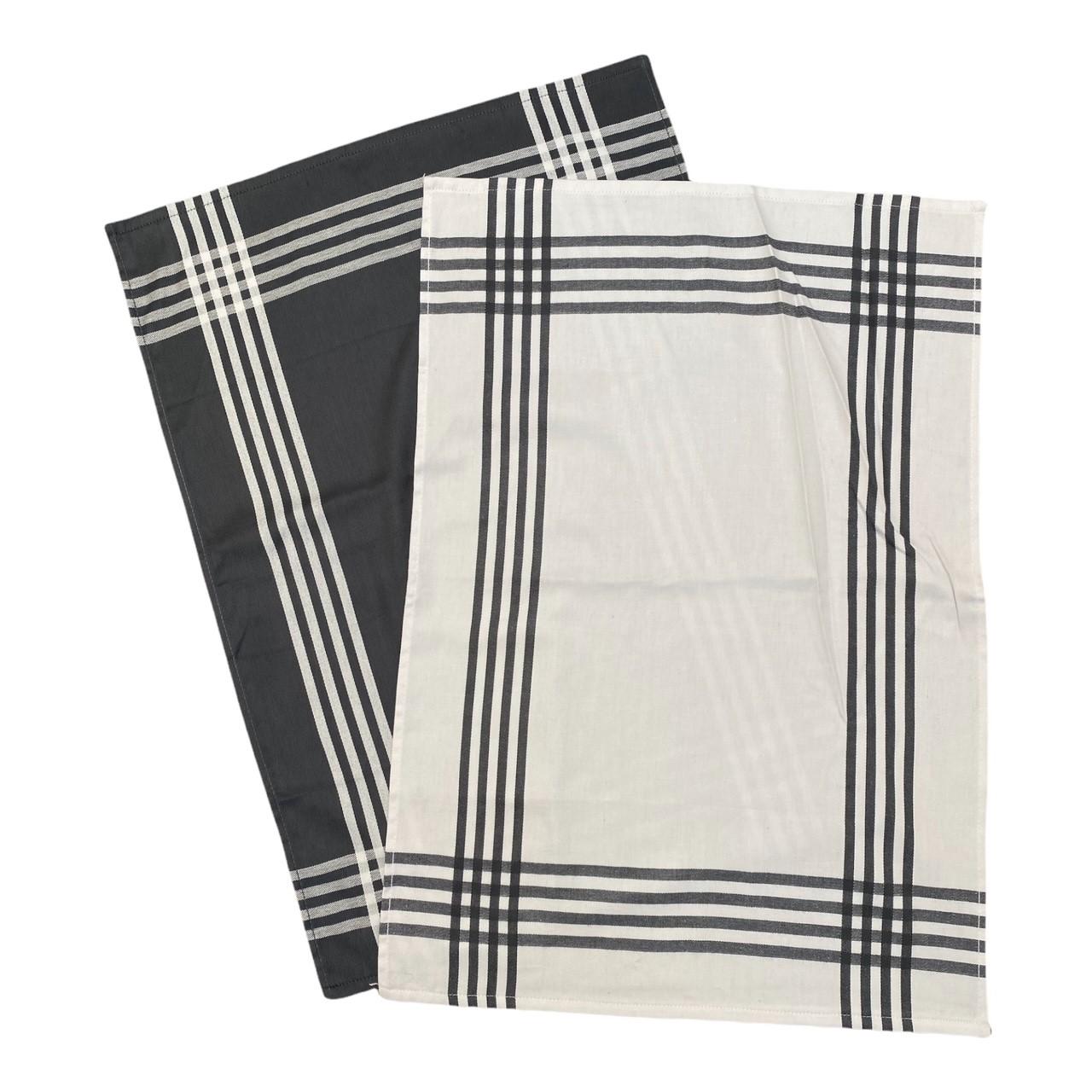 Duo torchons assortis bicolores rayés gris 50 x 70