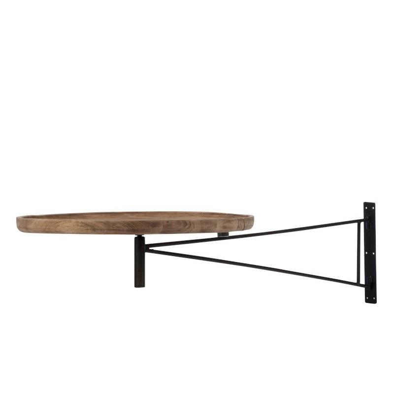 Table murale pivotante ronde bois/métal naturel 111cm