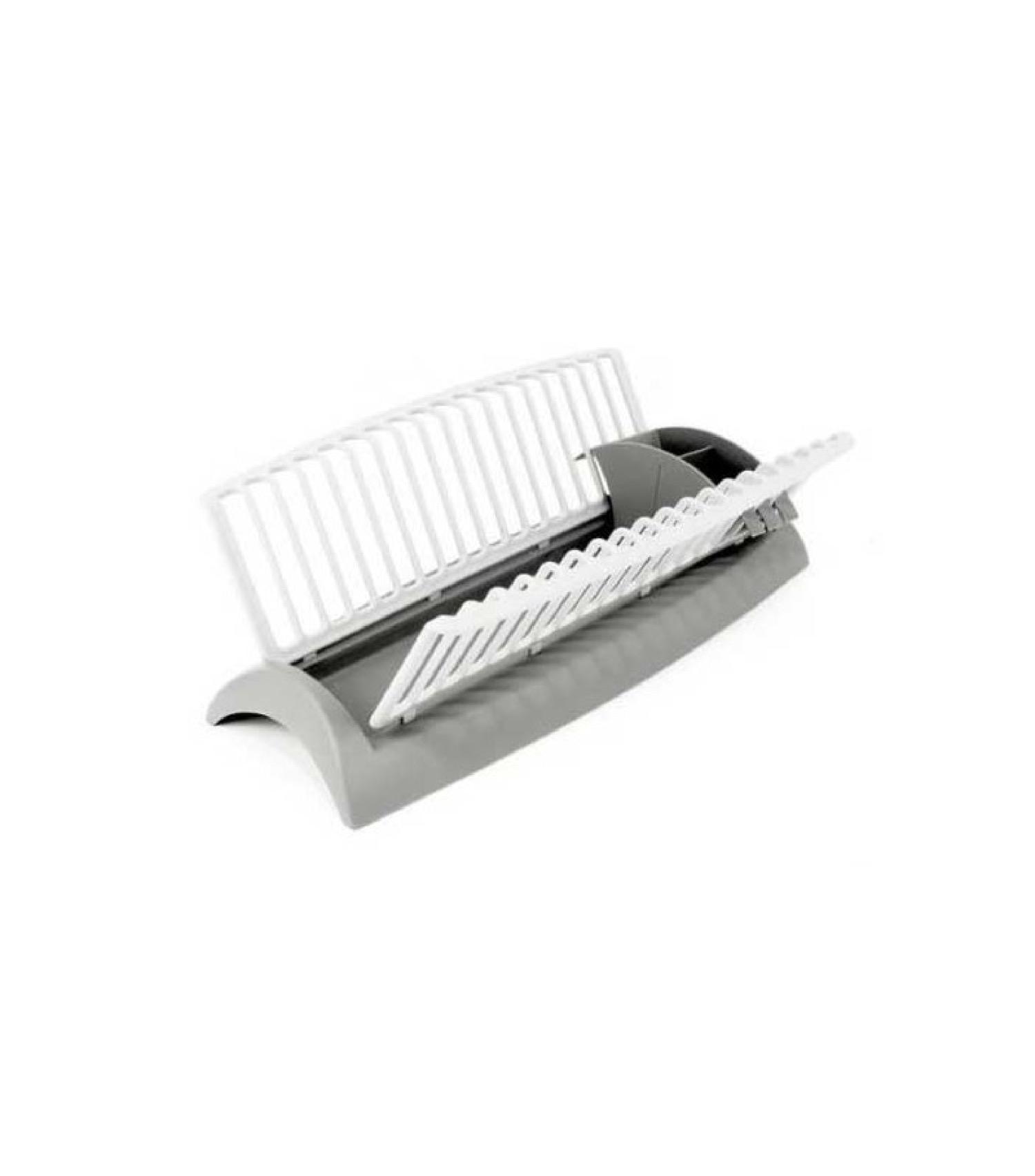 Égouttoir à vaisselle en plastique gris et blanc