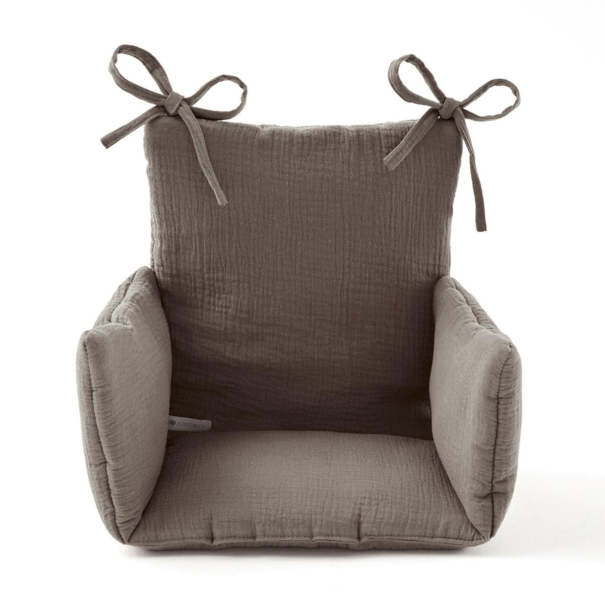 Coussin chaise haute en gaze de coton taupe
