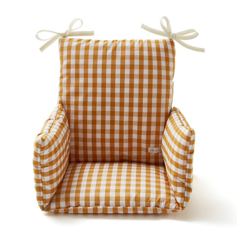 Coussin chaise haute imprimé vichy safran