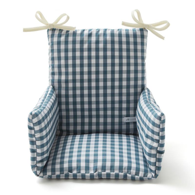 Coussin chaise haute imprimé vichy bleu paon