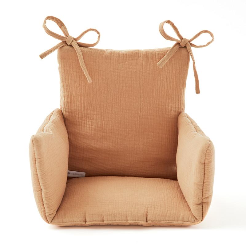 Coussin chaise haute en gaze de coton camel