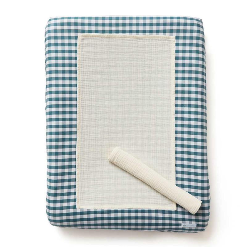 Housse de matelas à langer imprimé vichy bleu paon + 2 langes ecru