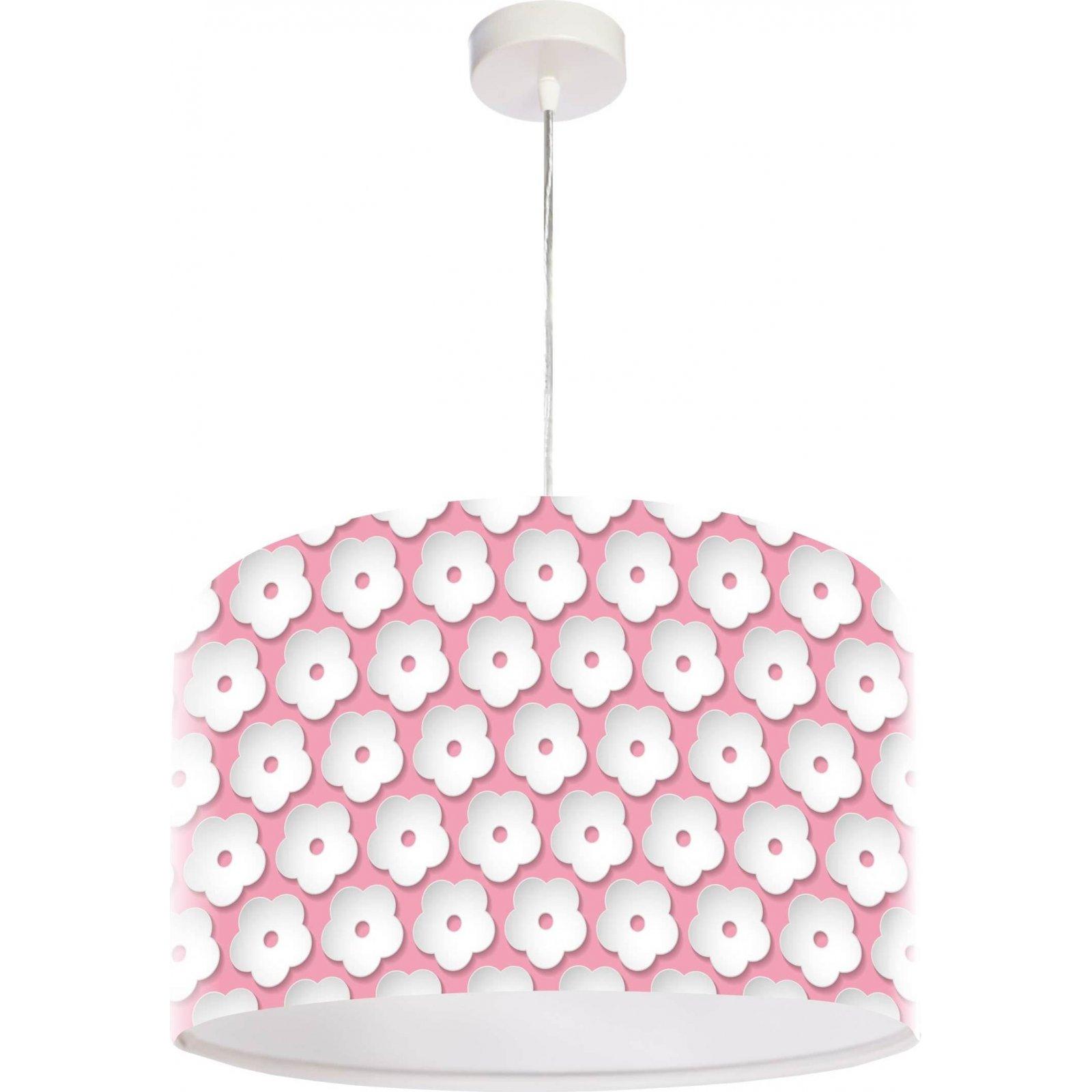 Suspension enfant abat-jour tissu rose et blanc Ø 50