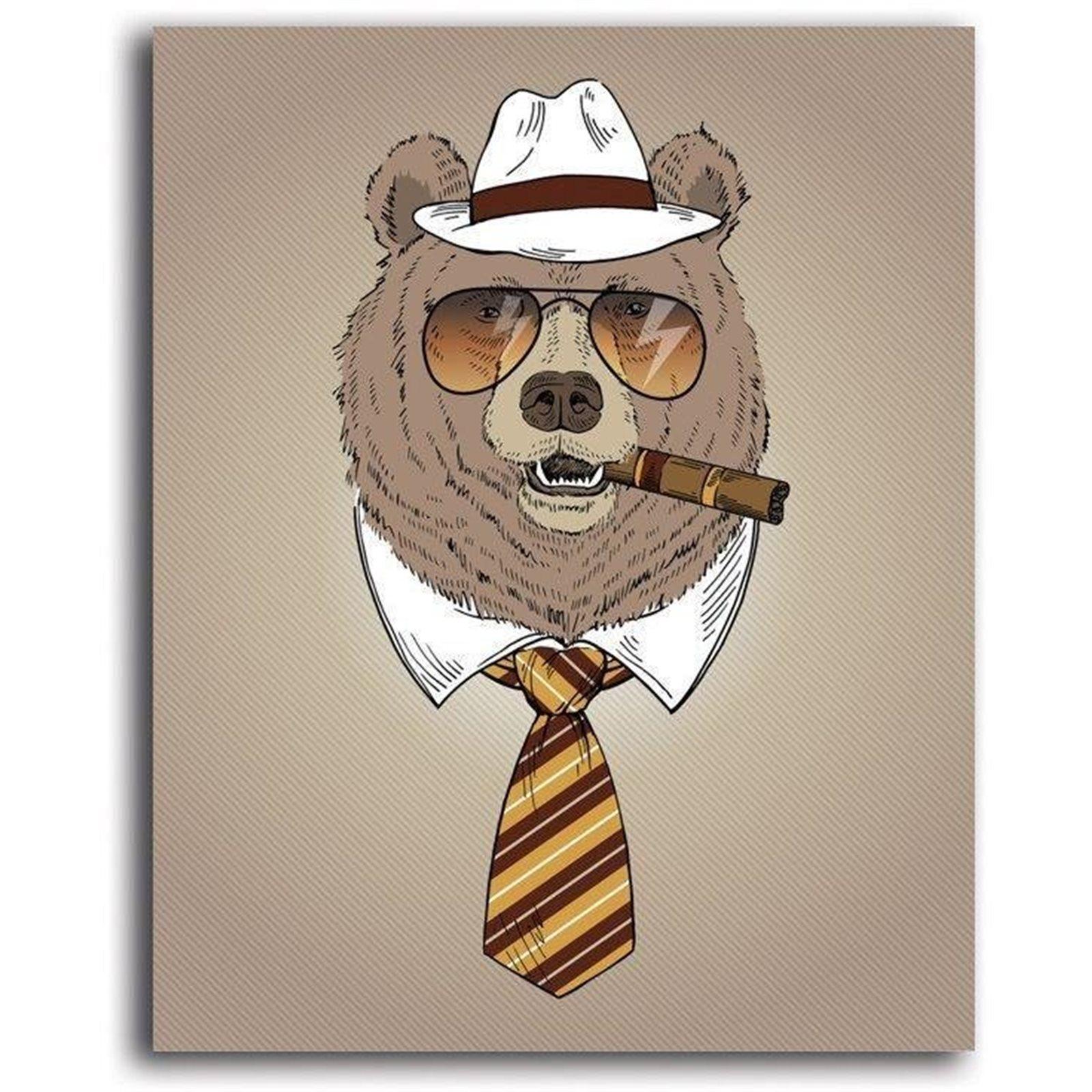 Tableau enfant bear with cigar marron 50x70