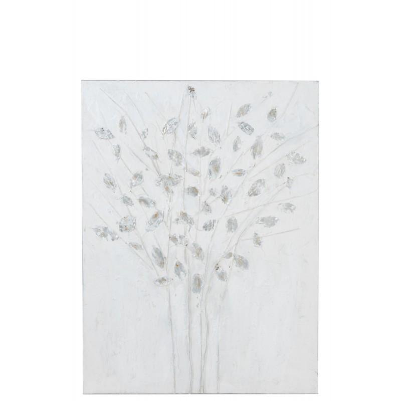 Peinture canevas bois blanc/argent 90x120cm