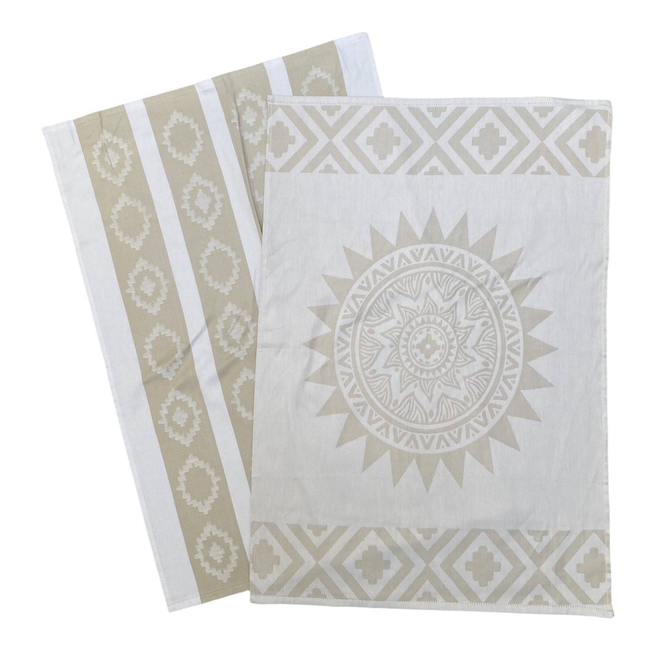 Duo torchons assortis bicolores beige Sun  50 x 70