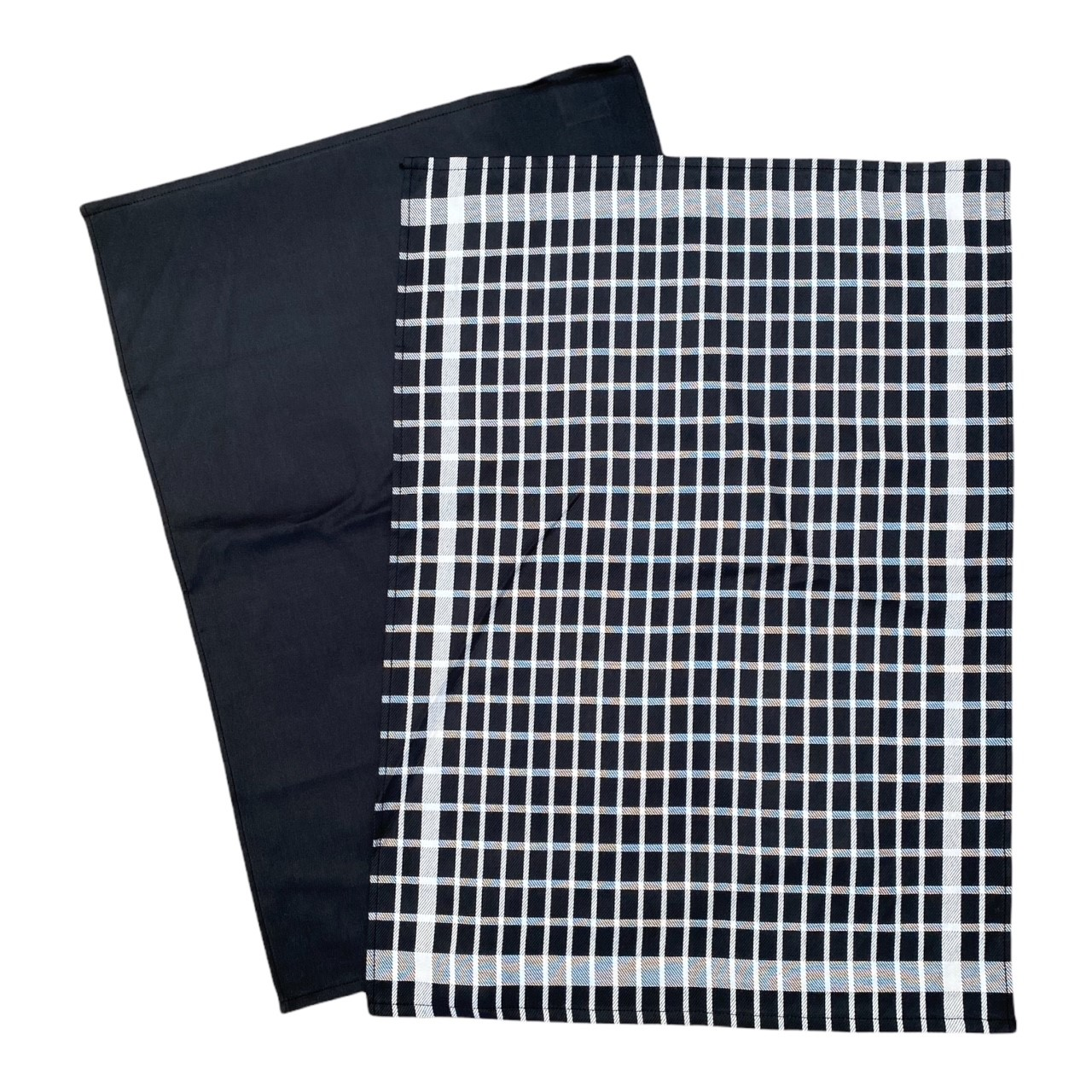 Duo torchons assortis carreaux noirs  50 x 70