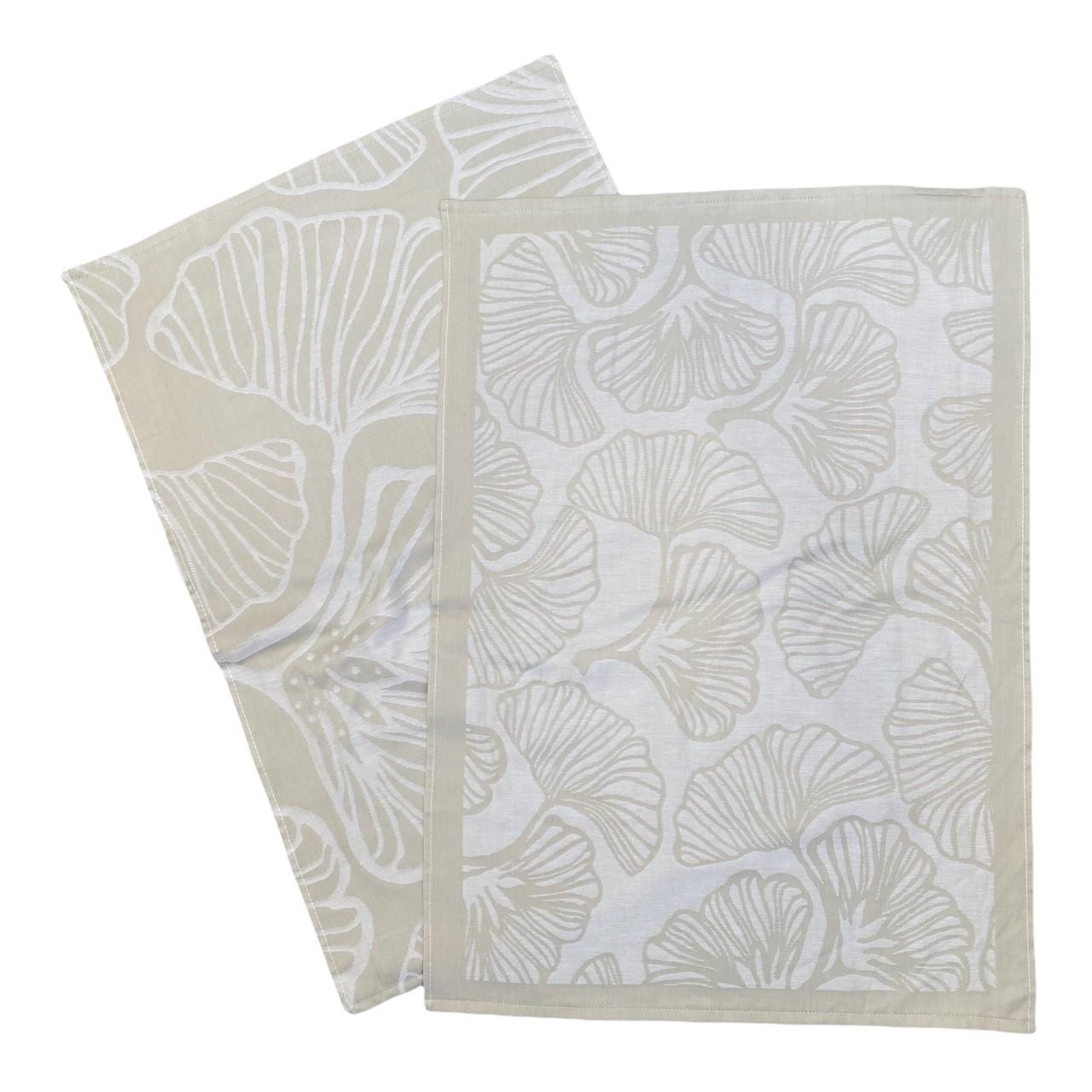 Duo torchons assortis bicolores beige Ginkos 50 x 70