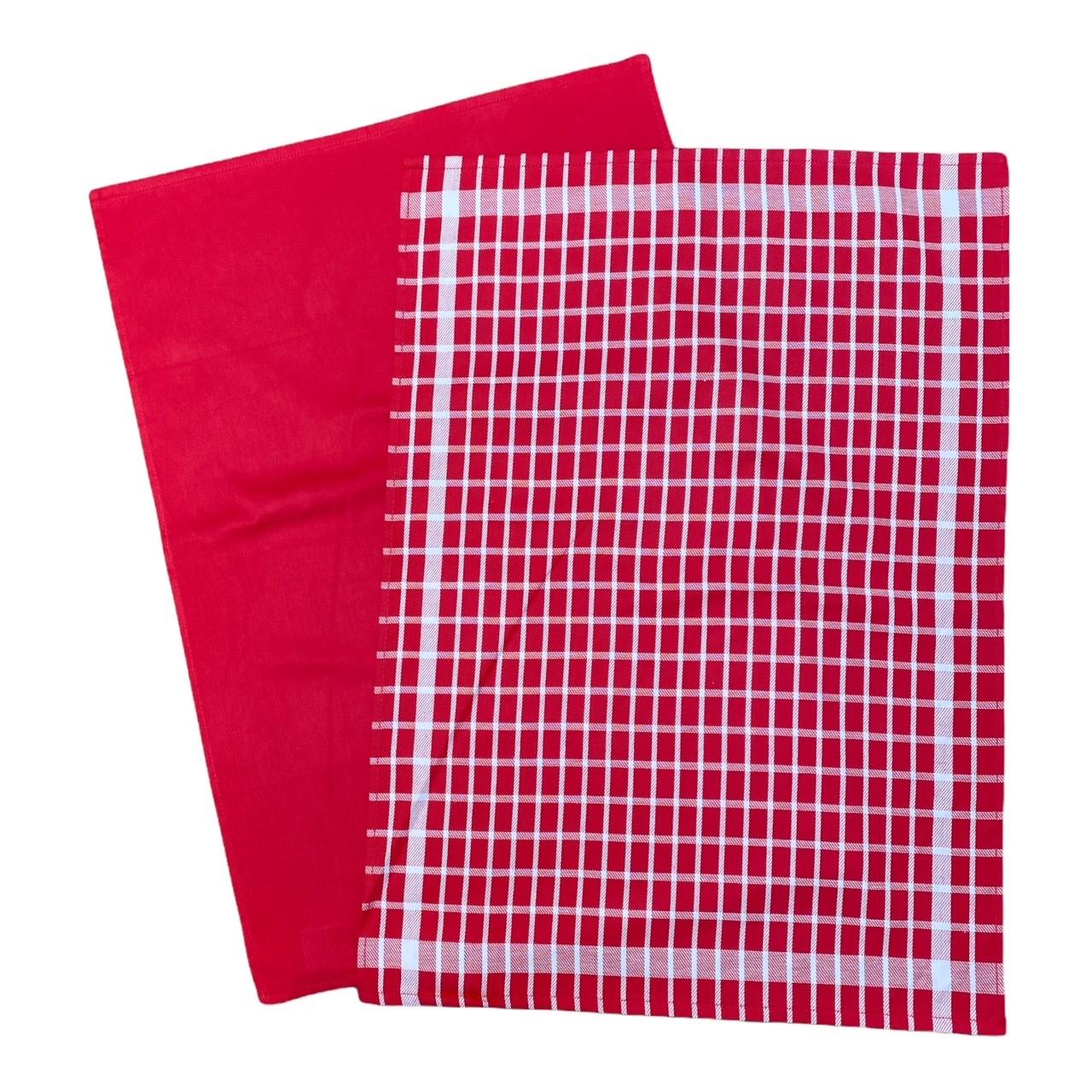 Duo torchons assortis bicolores carreaux rouges 50 x 70