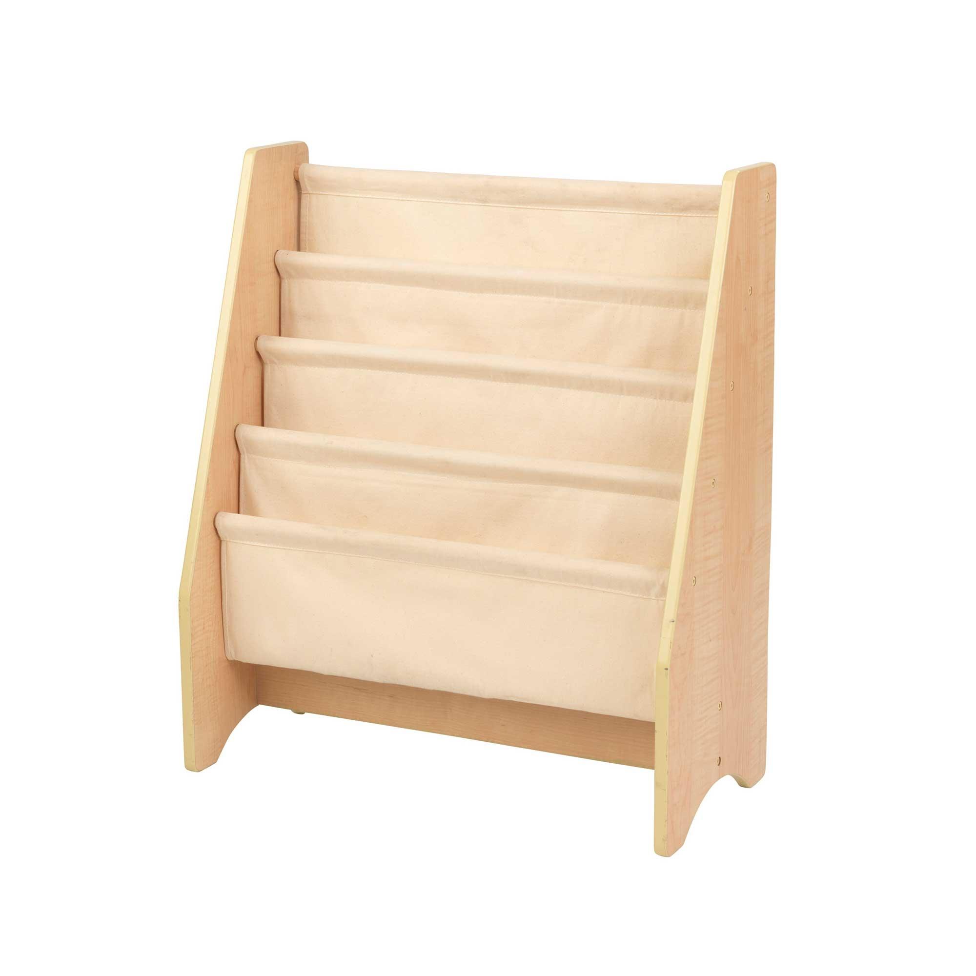 Bibliothèque beige pour enfant en tissu et bois
