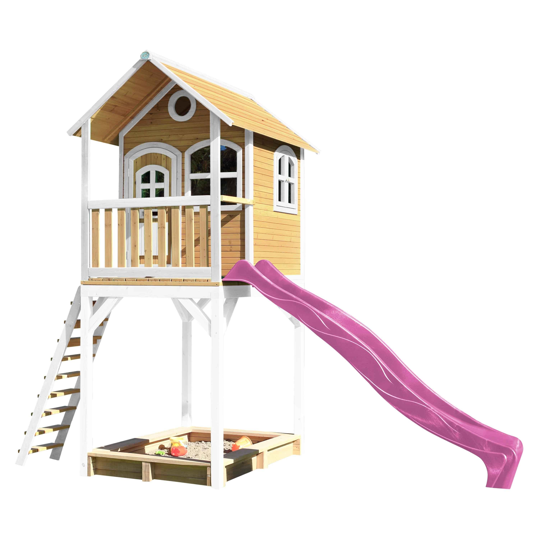 Haute maisonnette sur pilotis avec toboggan violet