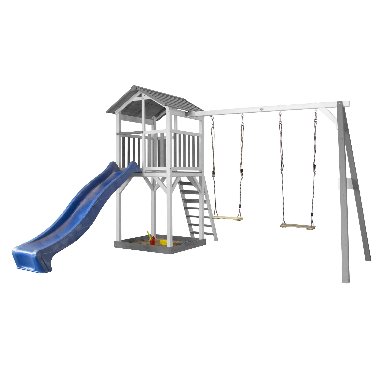 Aire de jeux en bois blanc avec 2 balançoires et toboggan bleu