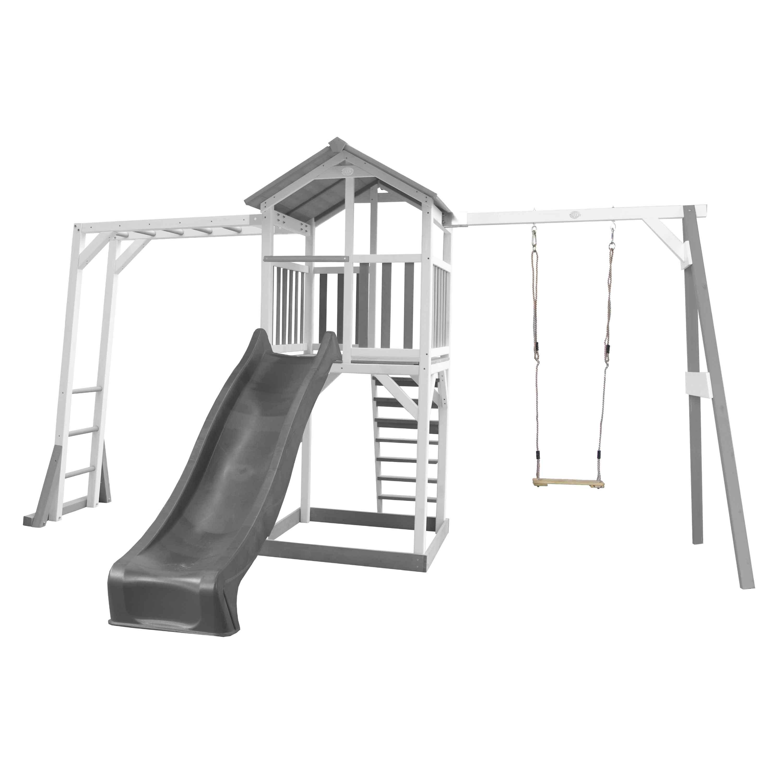Aire de jeux avec échelle de singe 1 balançoire et toboggan gris