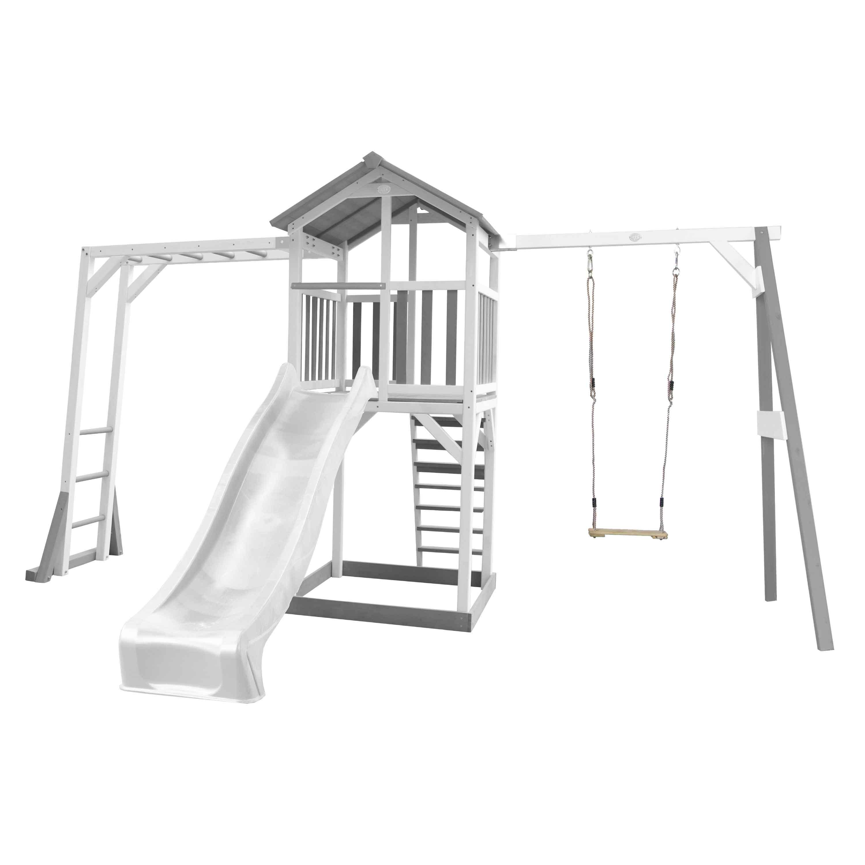 Aire de jeux avec échelle de singe 1 balançoire et toboggan blanc