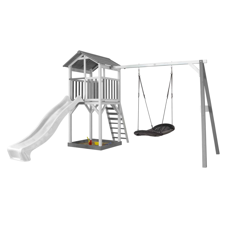 Aire de jeux en bois avec 1 balançoire nid ovale et toboggan blanc