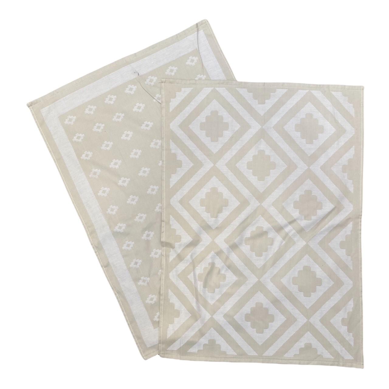 Duo torchons assortis bicolores beige Déco 50 x 70