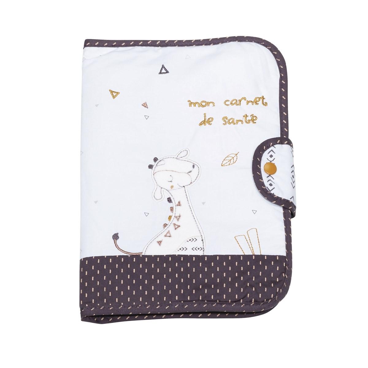 Protege carnet de sante en coton blanc