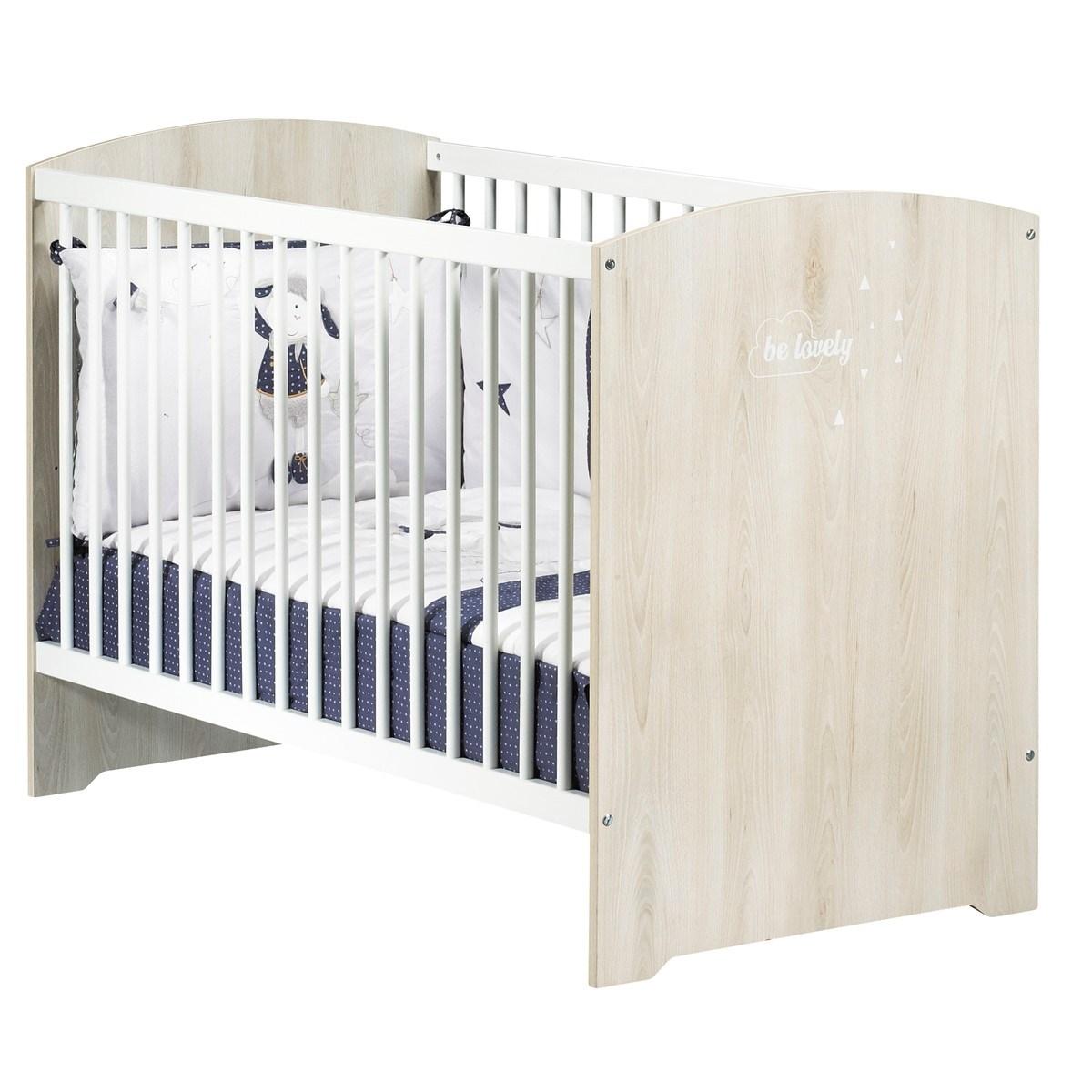 Lit 120x60 hêtre cendré en bois blanc